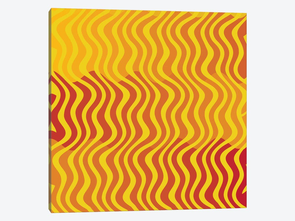 Modern Art- Groovy Yellow by 5by5collective 1-piece Canvas Print