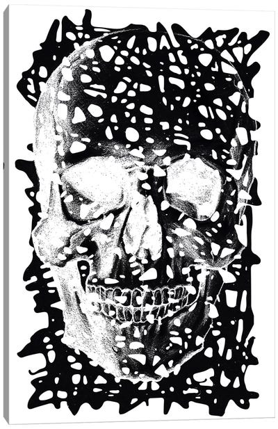 Modern Art - Black Splatter Skull Canvas Print #MA72