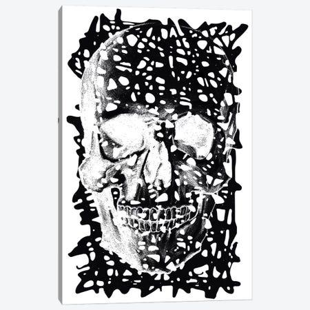 Modern Art - Black Splatter Skull Canvas Print #MA72} by 5by5collective Canvas Art
