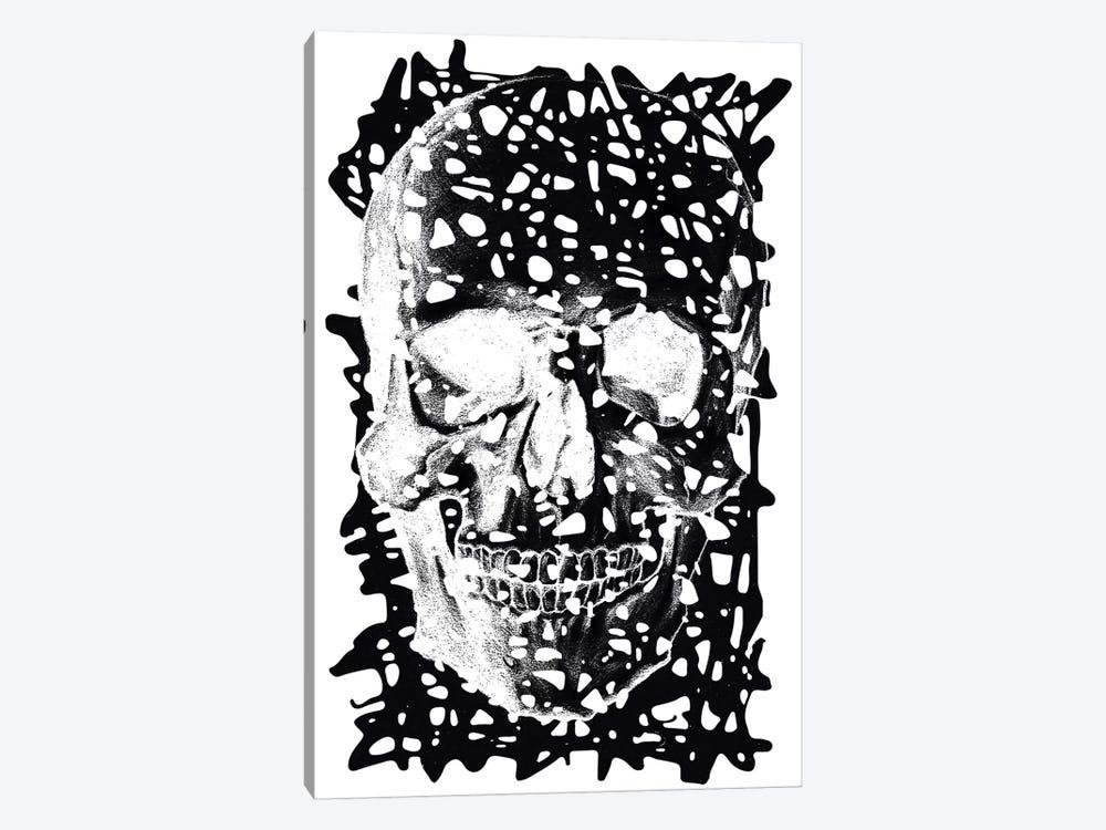Modern Art - Black Splatter Skull by 5by5collective 1-piece Canvas Art