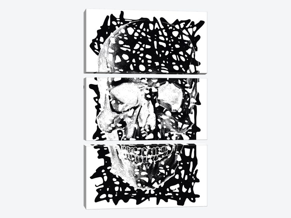 Modern Art - Black Splatter Skull by 5by5collective 3-piece Canvas Wall Art