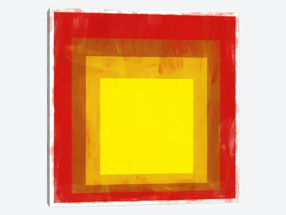 Modern Art- Red & Yellow Squares by 5by5collective 1-piece Canvas Art