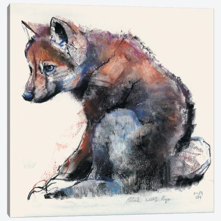Polish Wolf Pup Canvas Print #MAD19} by Mark Adlington Canvas Wall Art