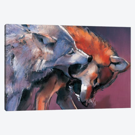 Two Wolves Canvas Print #MAD30} by Mark Adlington Canvas Art