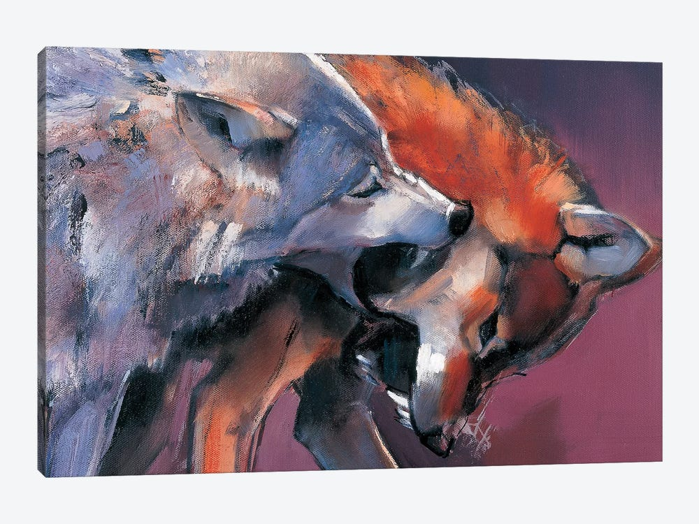 Two Wolves by Mark Adlington 1-piece Canvas Print