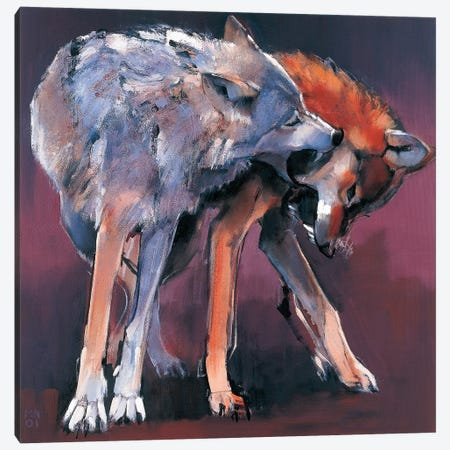 Two Wolves Canvas Print #MAD31} by Mark Adlington Canvas Wall Art