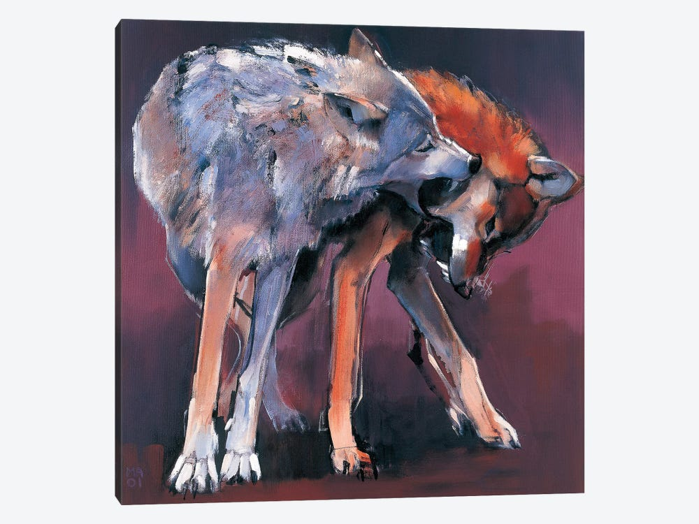 Two Wolves by Mark Adlington 1-piece Canvas Wall Art