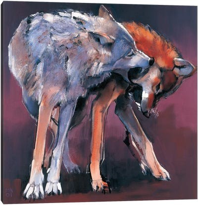 Two Wolves, 2001 Canvas Art Print