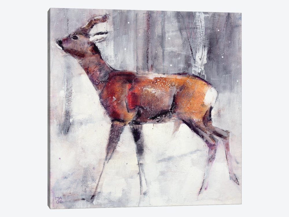 Buck In The Snow 1-piece Canvas Wall Art