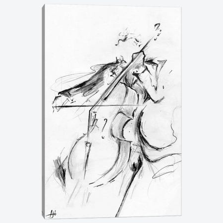 Cellist - Minimalist Canvas Print #MAE107} by Marc Allante Canvas Print