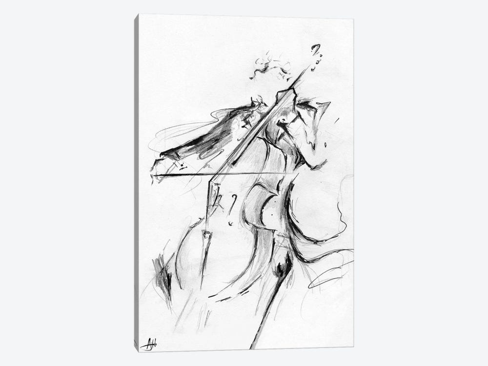 Cellist - Minimalist by Marc Allante 1-piece Canvas Art