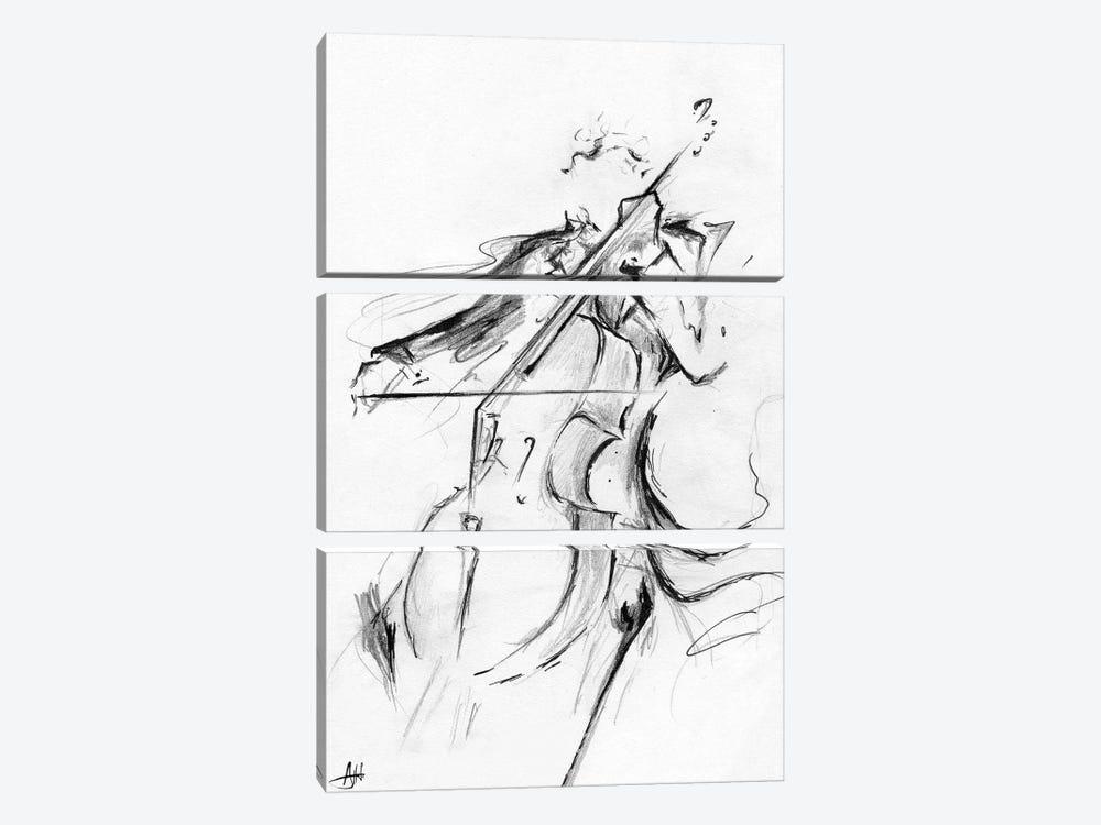 Cellist - Minimalist by Marc Allante 3-piece Canvas Art