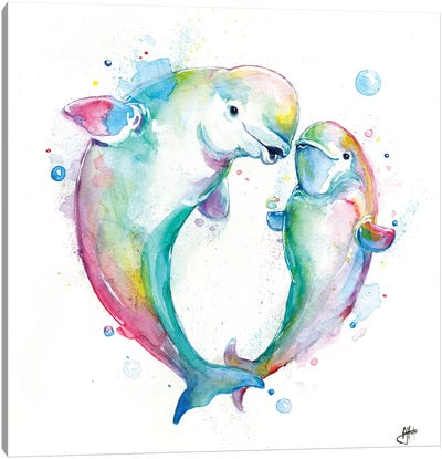 Bubbly Belugas Canvas Art Print