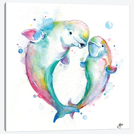 Bubbly Belugas Canvas Print #MAE128} by Marc Allante Canvas Wall Art