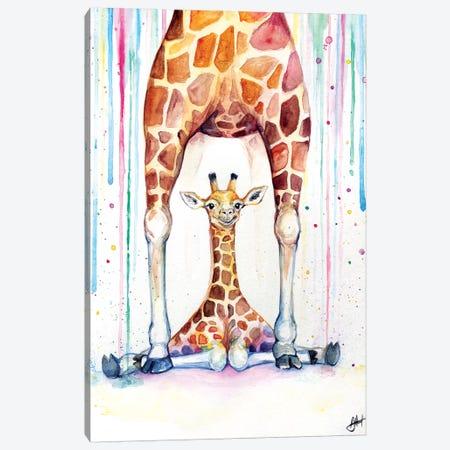 Gorgeous Giraffes In Rain Canvas Print #MAE135} by Marc Allante Canvas Wall Art
