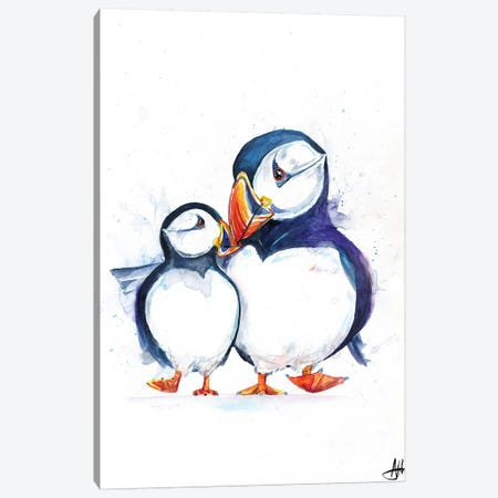 Parading Puffins Canvas Print #MAE144} by Marc Allante Art Print