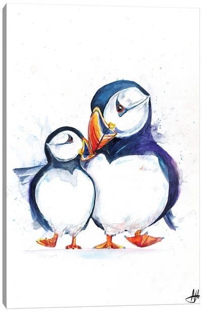 Parading Puffins Canvas Art Print