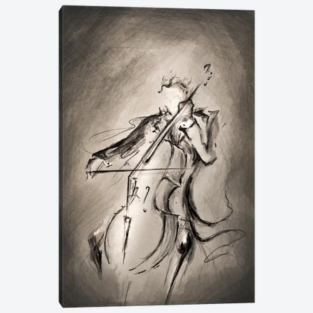 The Cellist Canvas Print #MAE28} by Marc Allante Canvas Wall Art