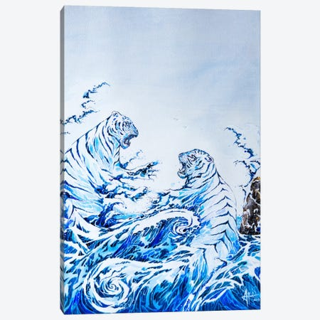 The Crashing Waves Canvas Print #MAE42} by Marc Allante Canvas Wall Art