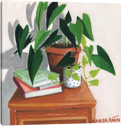 Books and Plants Canvas Art Print