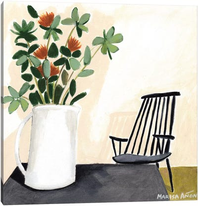 Flowers and a Chair             Canvas Art Print