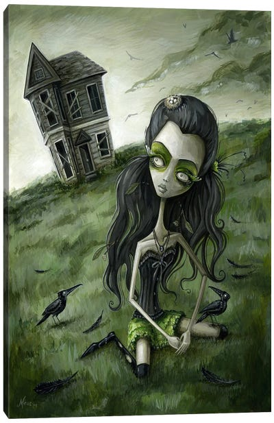 Abandoned In The Field Of Crows Canvas Art Print