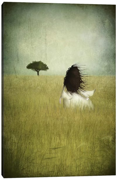 Girl On The Field Canvas Art Print