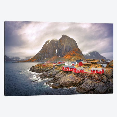 Reine Red Houses Canvas Print #MAO100} by Marco Carmassi Canvas Wall Art