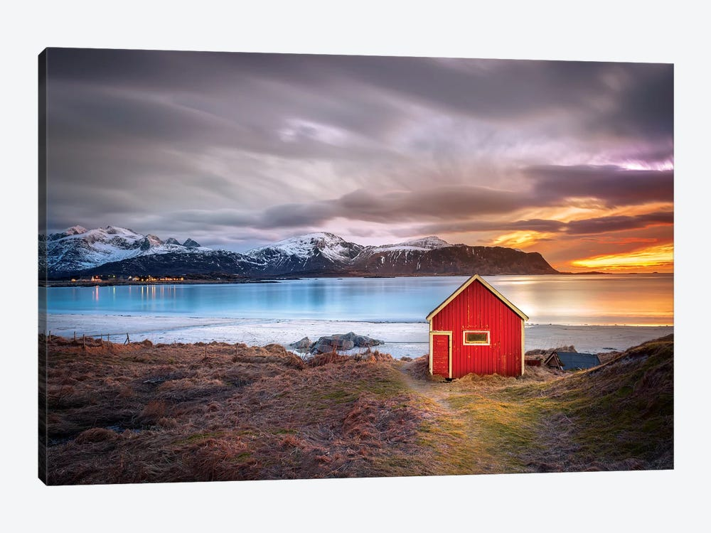 Red Shack Rambergstranda Beach by Marco Carmassi 1-piece Canvas Wall Art
