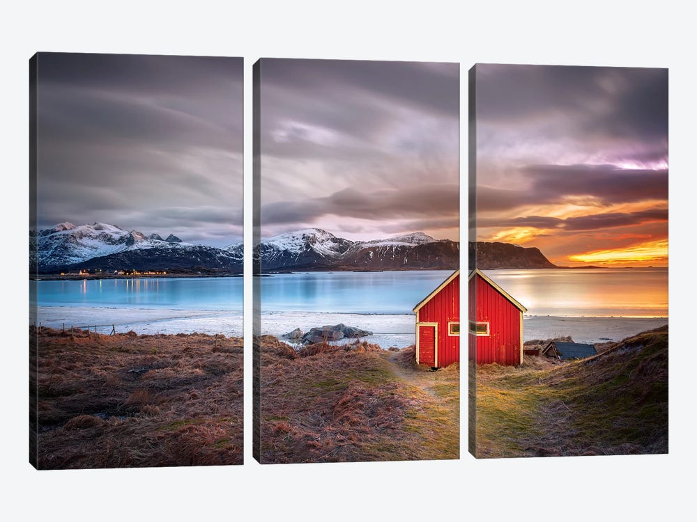 Red Shack Rambergstranda Beach by Marco Carmassi 3-piece Canvas Art