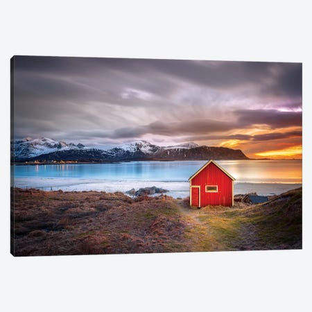 Red Shack Rambergstranda Beach Canvas Print #MAO104} by Marco Carmassi Art Print