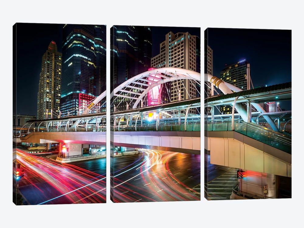 Bangkok Bridge by Marco Carmassi 3-piece Canvas Print