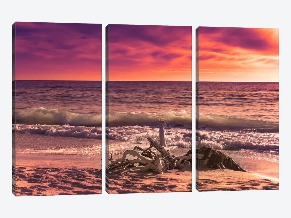 Sunset From The Beach by Marco Carmassi 3-piece Canvas Artwork