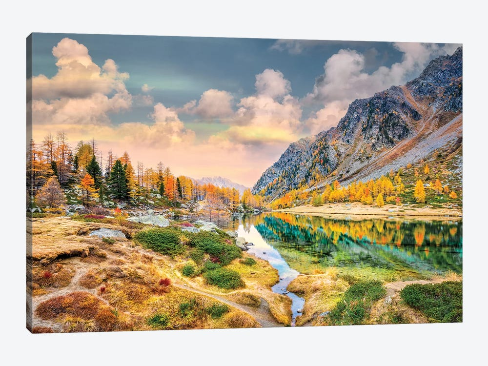 Arpy Lake Reflections by Marco Carmassi 1-piece Canvas Print