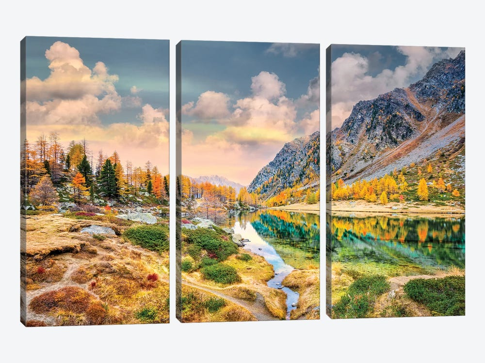 Arpy Lake Reflections 3-piece Art Print