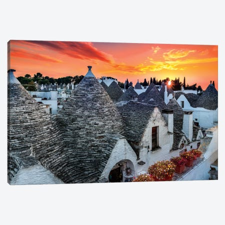 Alberobello Sunset Canvas Print #MAO120} by Marco Carmassi Canvas Art