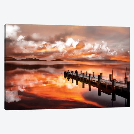 Sunset Pier Canvas Print #MAO123} by Marco Carmassi Canvas Wall Art