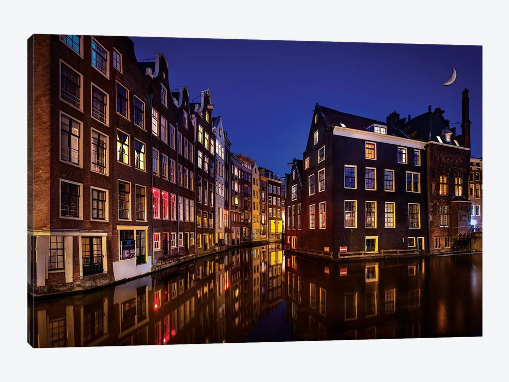 Amsterdam Night by Marco Carmassi 1-piece Canvas Art Print