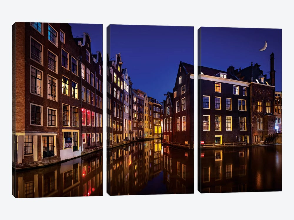 Amsterdam Night by Marco Carmassi 3-piece Canvas Art Print