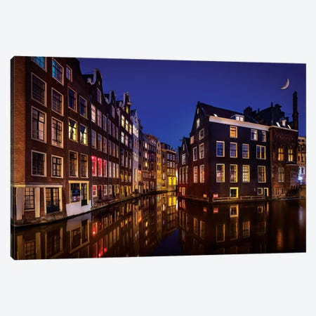Amsterdam Night Canvas Print #MAO127} by Marco Carmassi Canvas Art Print