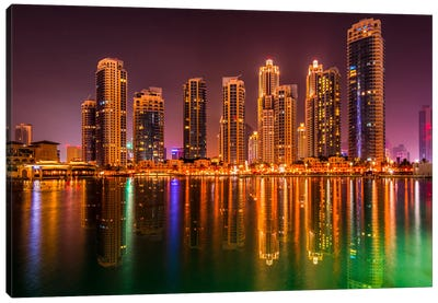 Dubai By Night Canvas Art Print