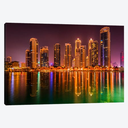 Dubai By Night Canvas Print #MAO12} by Marco Carmassi Canvas Art Print