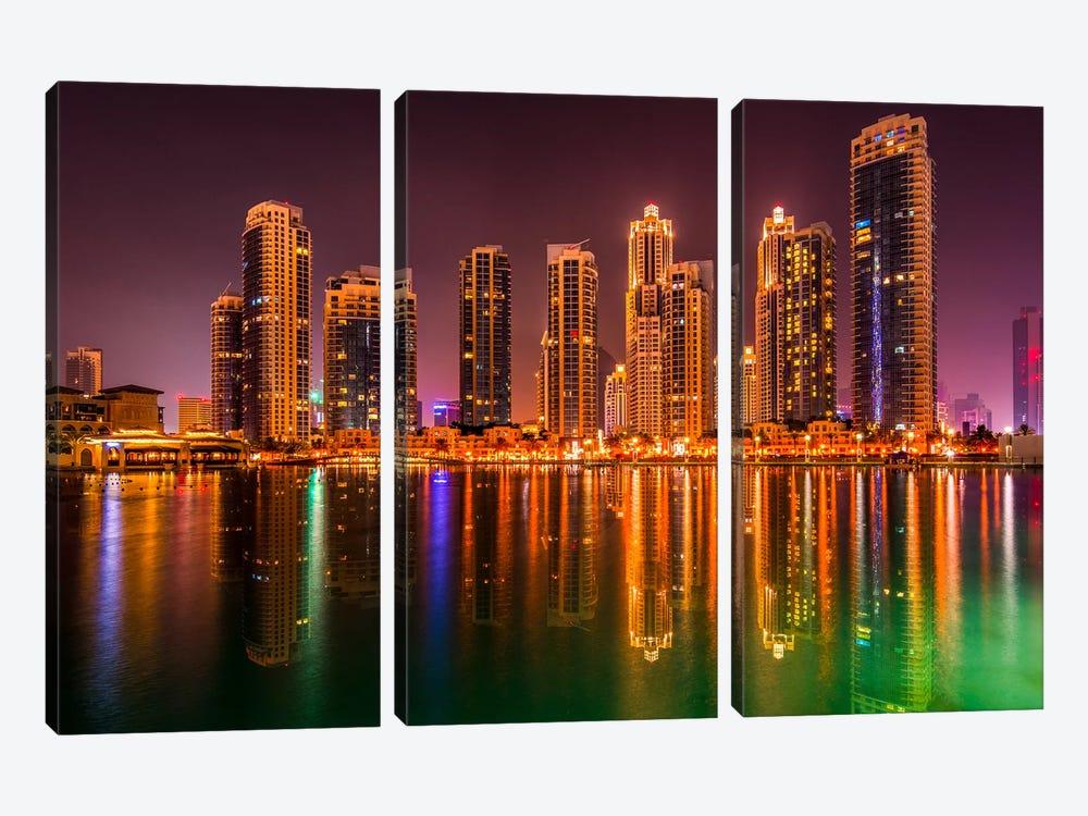 Dubai By Night by Marco Carmassi 3-piece Canvas Wall Art