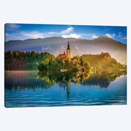 Bled Lake Canvas Print #MAO134} by Marco Carmassi Canvas Art