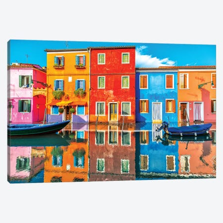 Burano Reflections Canvas Print #MAO136} by Marco Carmassi Canvas Artwork