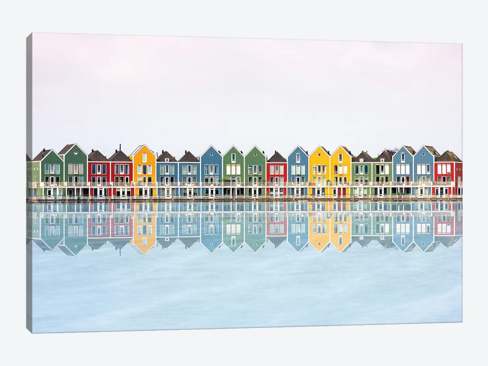 Coloured Houses by Marco Carmassi 1-piece Canvas Art