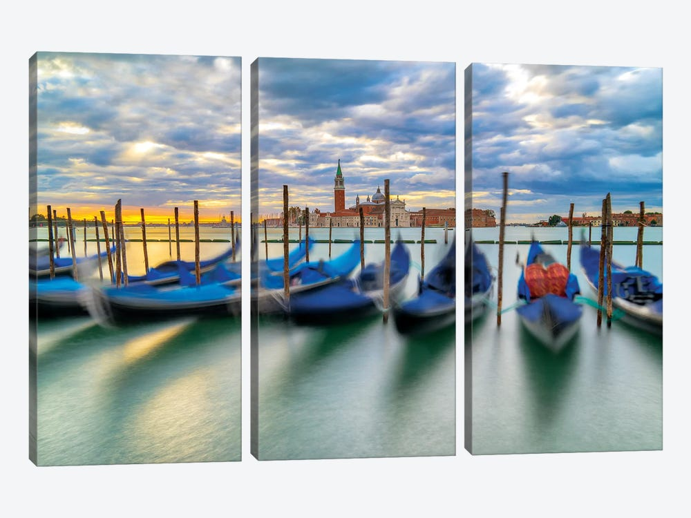 Cradled By The Waves by Marco Carmassi 3-piece Canvas Print