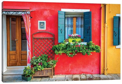 Flowers In Burano Canvas Art Print