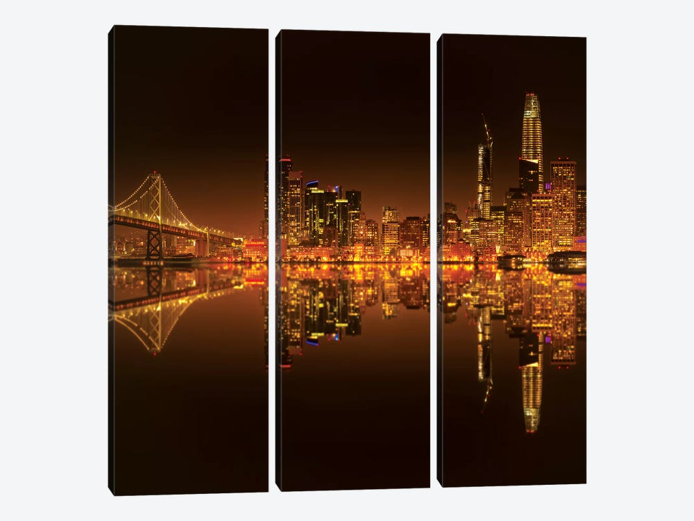 Golden Heart by Marco Carmassi 3-piece Canvas Artwork