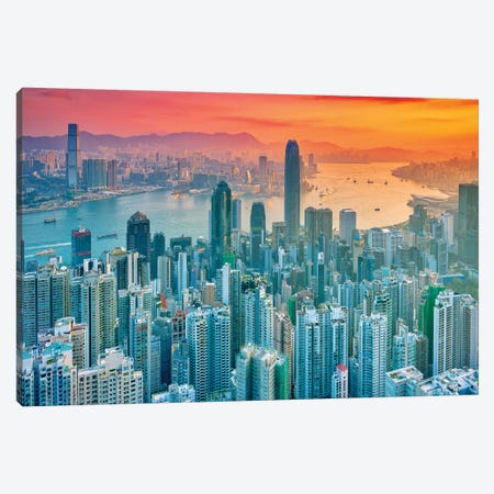 Hong Kong From The Hill Canvas Print #MAO153} by Marco Carmassi Canvas Art Print